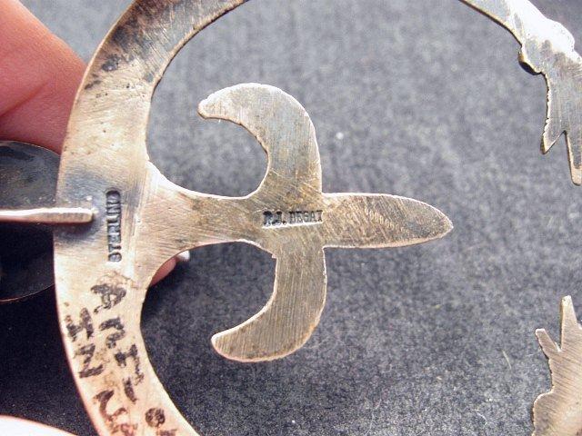 Image 6 of Old Navajo Indian Multi-Gem Squash Blossom Necklace, P J Begay
