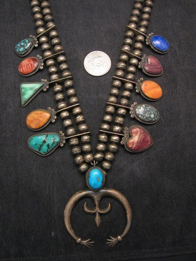 Image 7 of Old Navajo Indian Multi-Gem Squash Blossom Necklace, P J Begay
