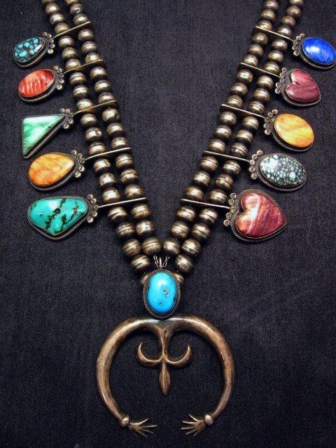 Image 0 of Old Navajo Indian Multi-Gem Squash Blossom Necklace, P J Begay