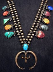 Pre-owned Navajo Old Style Multi-Gem Squash Blossom Necklace, P J Begay