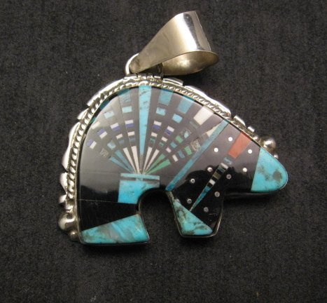 Image 0 of Native American Navajo Multigem Inlaid Bear Pendant, Ray Jack