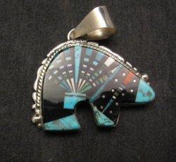 Native American Navajo Multigem Inlaid Bear Pendant, Ray Jack