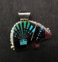 Native American Navajo Multistone Inlaid Cosmic Bear Pendant, Ray Jack