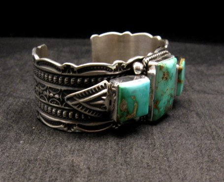 Image 2 of Native American Navajo Royston Turquoise Silver Bracelet, Darrell Cadman