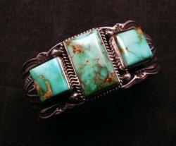 Native American Navajo Royston Turquoise Silver Bracelet, Darrell Cadman