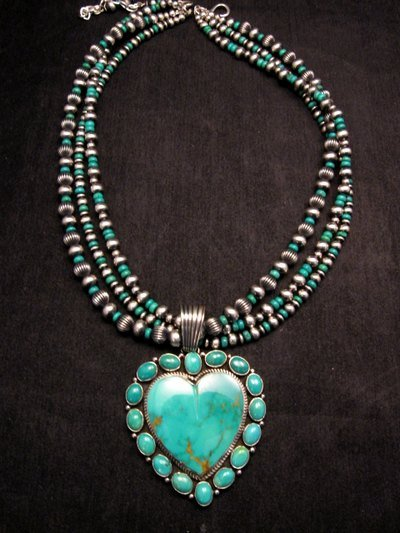 Image 0 of Navajo Kingman Turquoise Heart Pendant w/silver beads necklace, Geneva Apachito