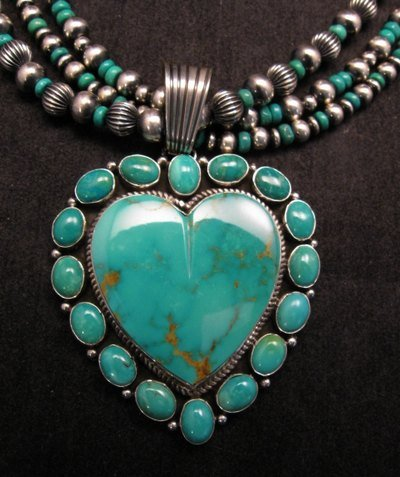 Image 1 of Navajo Kingman Turquoise Heart Pendant w/silver beads necklace, Geneva Apachito
