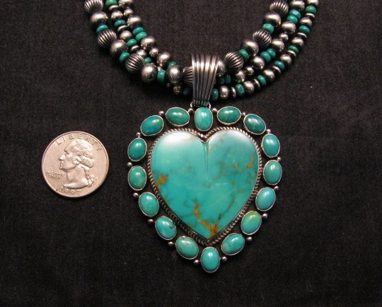 Image 2 of Navajo Kingman Turquoise Heart Pendant w/silver beads necklace, Geneva Apachito