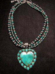Navajo Kingman Turquoise Heart Pendant w/silver beads necklace, Geneva Apachito