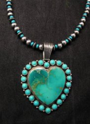 Native American Navajo Turquoise Heart Pendant w/ bead necklace, Geneva Apachito