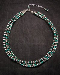 Navajo Hand Finished Sterling Silver & Turquoise Bead Bracelet 7-1/2 to 8-1/2