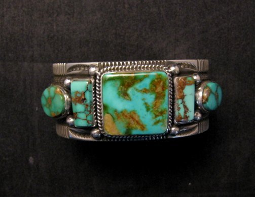 Image 0 of Native American Navajo 5-stone Royston Turquoise Bracelet, Darrell Cadman