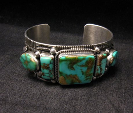 Image 1 of Native American Navajo 5-stone Royston Turquoise Bracelet, Darrell Cadman