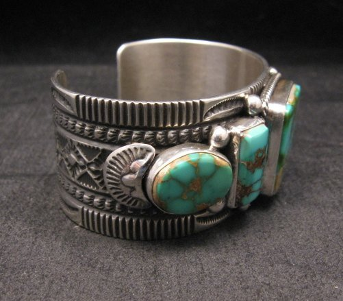 Image 5 of Native American Navajo 5-stone Royston Turquoise Bracelet, Darrell Cadman