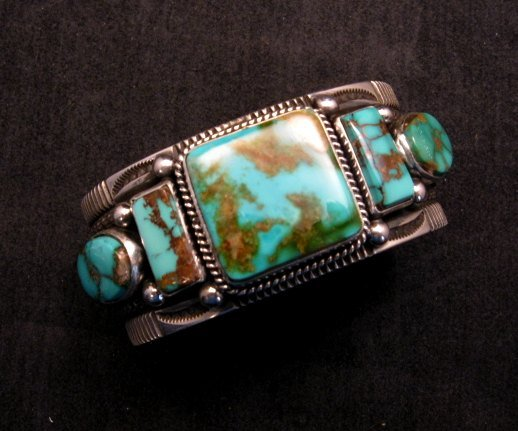 Image 2 of Native American Navajo 5-stone Royston Turquoise Bracelet, Darrell Cadman