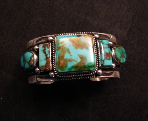 Image 4 of Native American Navajo 5-stone Royston Turquoise Bracelet, Darrell Cadman