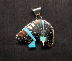 Native American Navajo Multistone Inlaid Cosmic Bear Pendant, Ray Jack