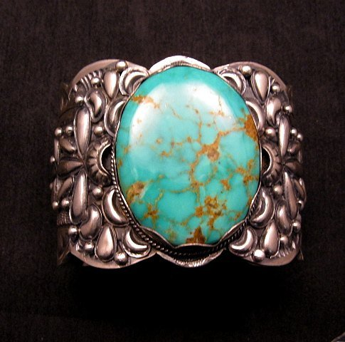 Image 0 of A++ Wide Navajo Native American Turquoise Sterling Silver Bracelet, Gilbert Tom