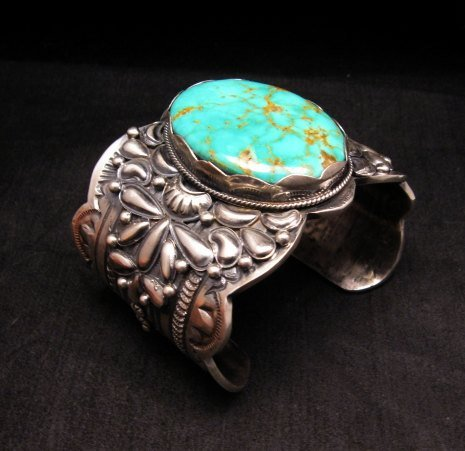 Image 1 of A++ Wide Navajo Native American Turquoise Sterling Silver Bracelet, Gilbert Tom