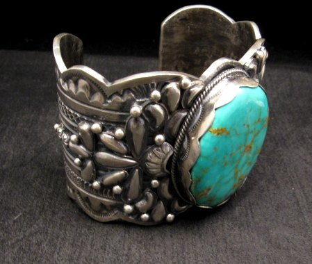 Image 2 of A++ Wide Navajo Native American Turquoise Sterling Silver Bracelet, Gilbert Tom