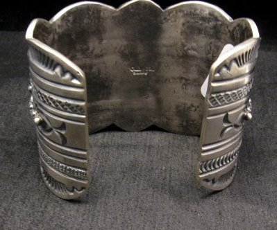Image 6 of A++ Wide Navajo Native American Turquoise Sterling Silver Bracelet, Gilbert Tom