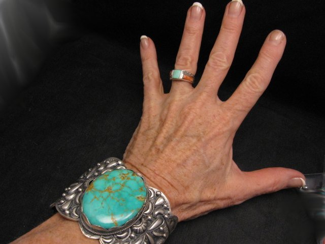 Image 4 of A++ Wide Navajo Native American Turquoise Sterling Silver Bracelet, Gilbert Tom