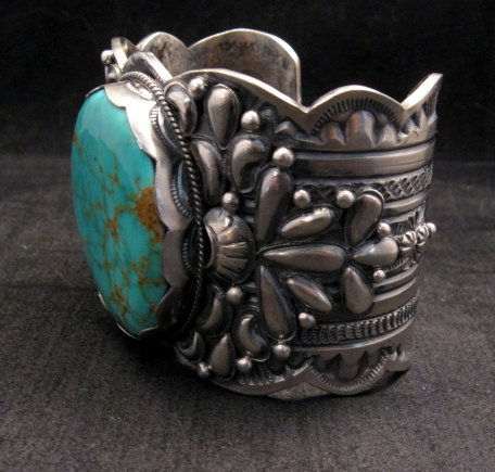 Image 3 of A++ Wide Navajo Native American Turquoise Sterling Silver Bracelet, Gilbert Tom