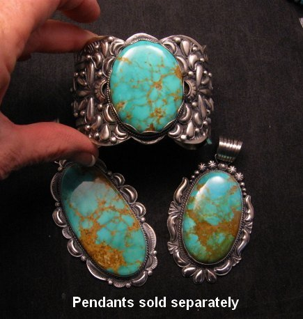 Image 7 of A++ Wide Navajo Native American Turquoise Sterling Silver Bracelet, Gilbert Tom