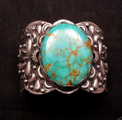 A++ Wide Navajo Native American Turquoise Sterling Silver Bracelet, Gilbert Tom