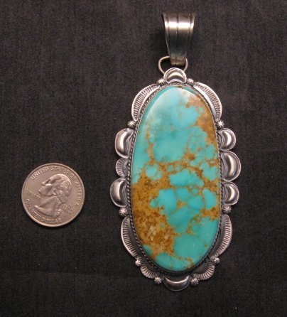 Image 1 of A++ Huge Navajo Native American Turquoise Sterling Silver Pendant, Gilbert Tom