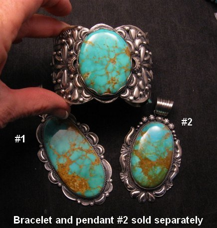Image 3 of A++ Huge Navajo Native American Turquoise Sterling Silver Pendant, Gilbert Tom
