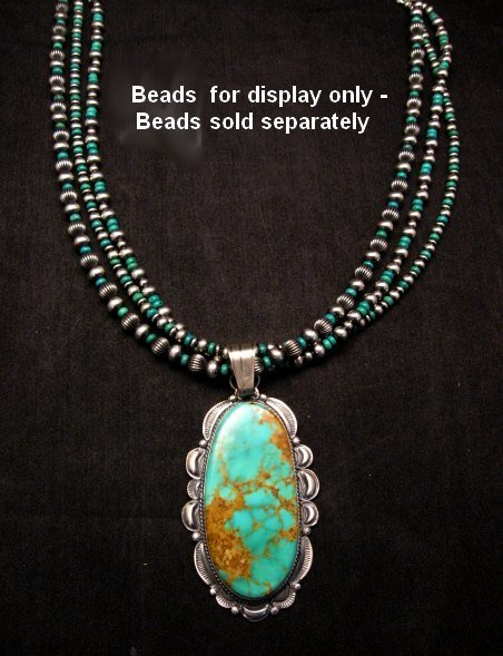 Image 2 of A++ Huge Navajo Native American Turquoise Sterling Silver Pendant, Gilbert Tom