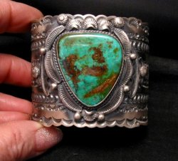 Wide Navajo Native American Royston Turquoise Sterling Bracelet, Gilbert Tom