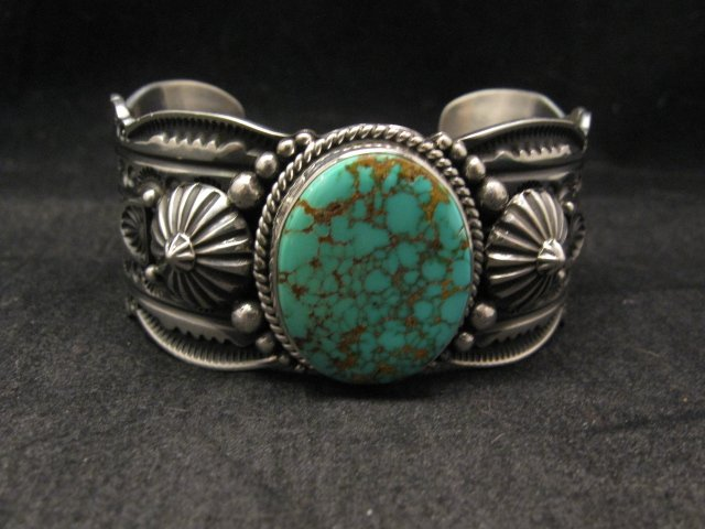 Image 0 of Navajo Revival Style Silver Natural Turquoise Bracelet, Gene Natan
