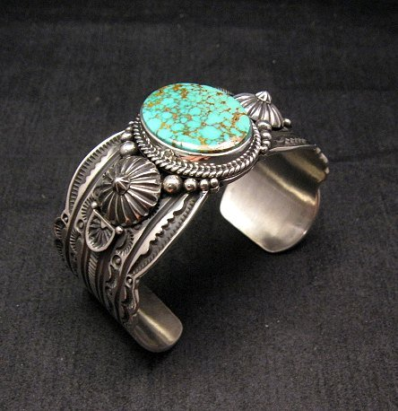 Image 1 of Navajo Revival Style Silver Natural Turquoise Bracelet, Gene Natan