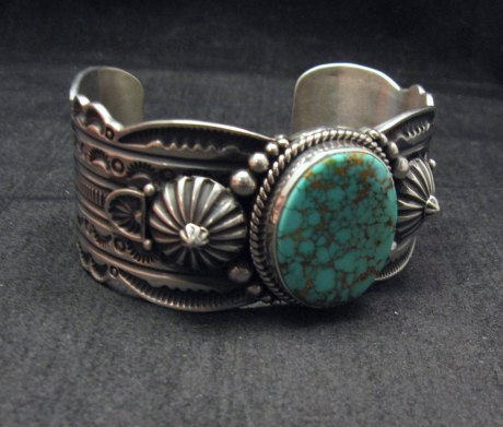 Image 2 of Navajo Revival Style Silver Natural Turquoise Bracelet, Gene Natan
