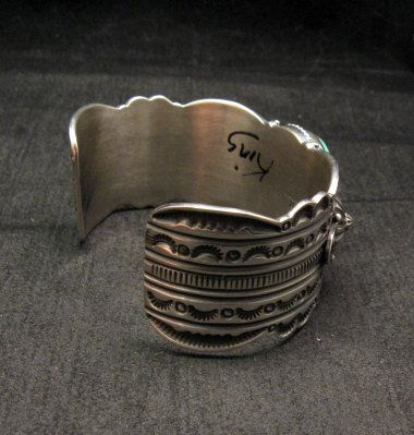Image 3 of Navajo Revival Style Silver Natural Turquoise Bracelet, Gene Natan
