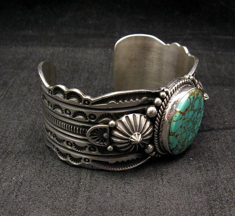 Image 4 of Navajo Revival Style Silver Natural Turquoise Bracelet, Gene Natan