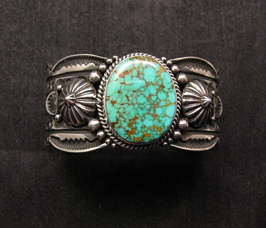 Image 5 of Navajo Revival Style Silver Natural Turquoise Bracelet, Gene Natan
