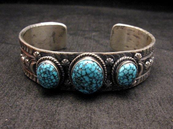 Image 0 of Navajo Native American Kingman Web Turquoise Row Bracelet, Gilbert Tom