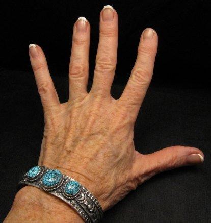 Image 2 of Navajo Native American Kingman Web Turquoise Row Bracelet, Gilbert Tom