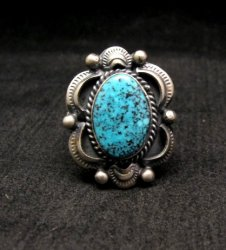 Navajo Native American Kingman Web Turquoise Bracelet, Gilbert Tom