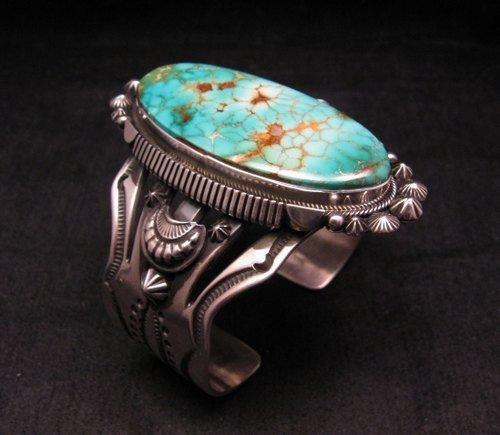 Image 1 of Navajo American Indian Royston Turquoise Silver Bracelet, Aaron Toadlena