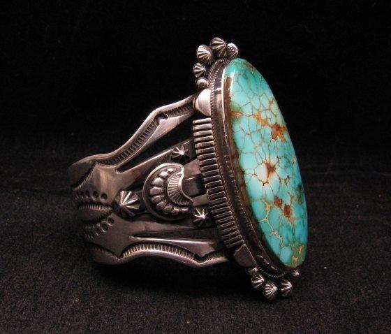 Image 3 of Navajo American Indian Royston Turquoise Silver Bracelet, Aaron Toadlena
