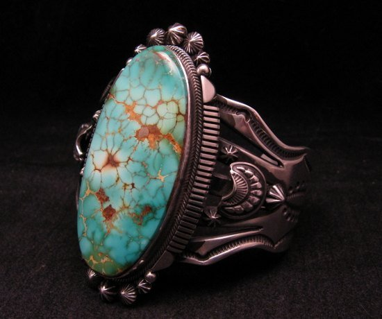 Image 2 of Navajo American Indian Royston Turquoise Silver Bracelet, Aaron Toadlena