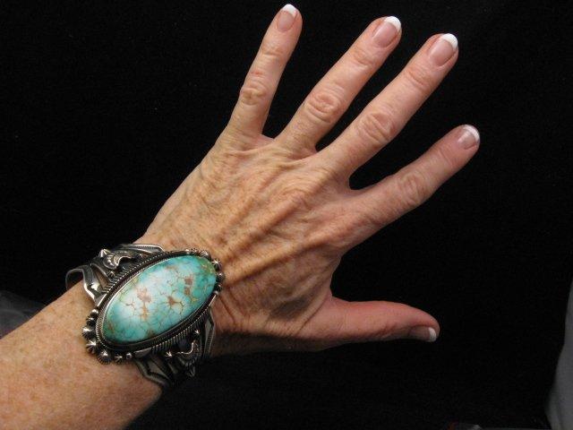 Image 5 of Navajo American Indian Royston Turquoise Silver Bracelet, Aaron Toadlena