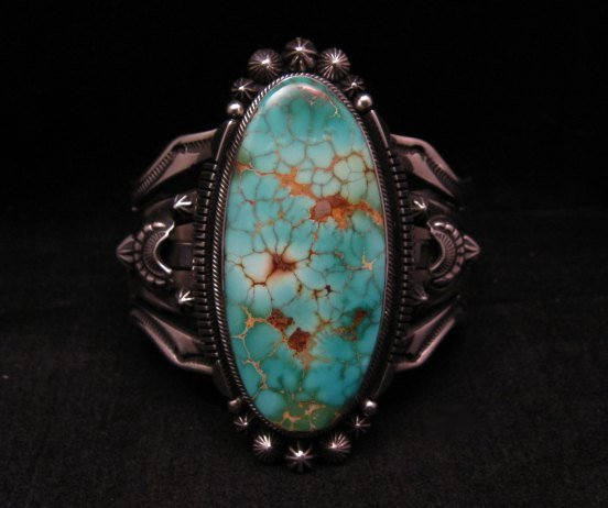 Image 4 of Navajo American Indian Royston Turquoise Silver Bracelet, Aaron Toadlena