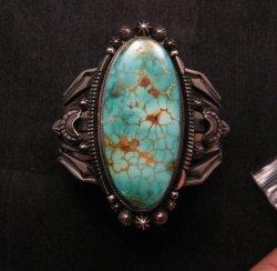 Navajo American Indian Royston Turquoise Silver Bracelet, Aaron Toadlena