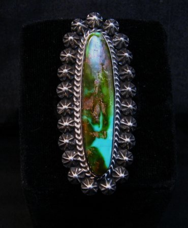 Image 0 of Long Navajo American Indian Royston Turquoise Silver Ring, Happy Piasso sz6-1/2