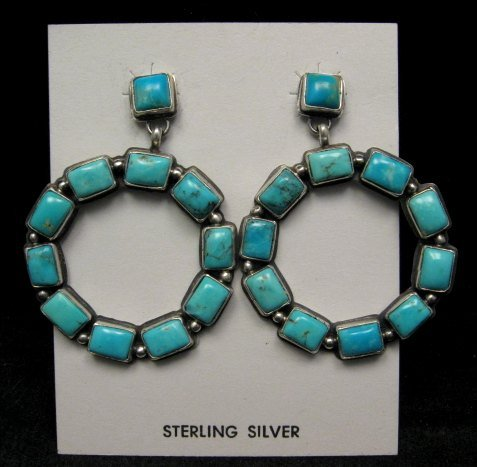 Image 0 of Annie Hoskie Navajo American Indian Turquoise Silver Earrings